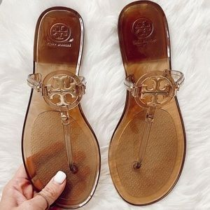Tory Burch mini Miller sandals clear gold 7